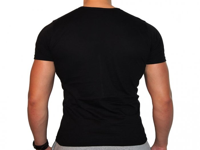 Focus Gymwear Fitted T shirt zwart achterkant man