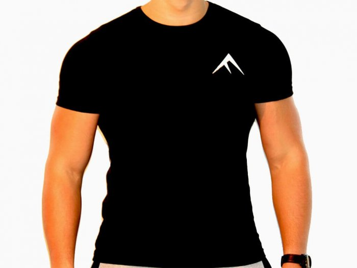 Focus Gymwear Fitted T shirt zwart voorkant man