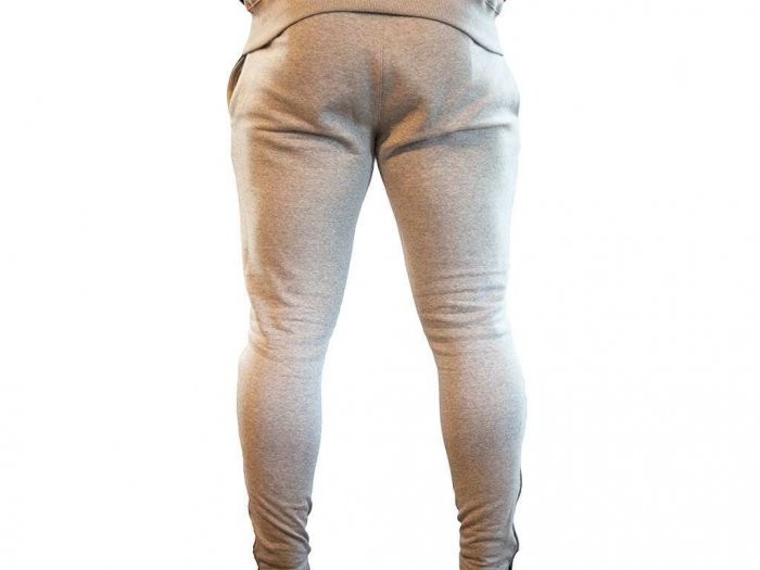 Focus Gymwear fitted broek grijs achterkant man