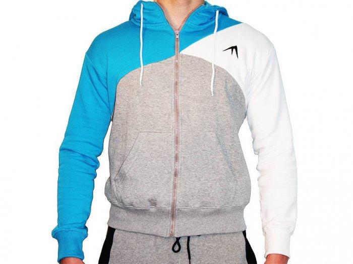 Focus Gymwear hoodie tri panel blauw voorkant man