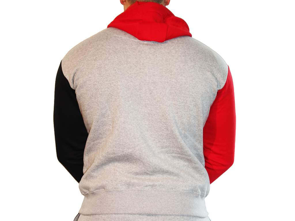 Focus Gymwear hoodie tri panel rood achterkant man
