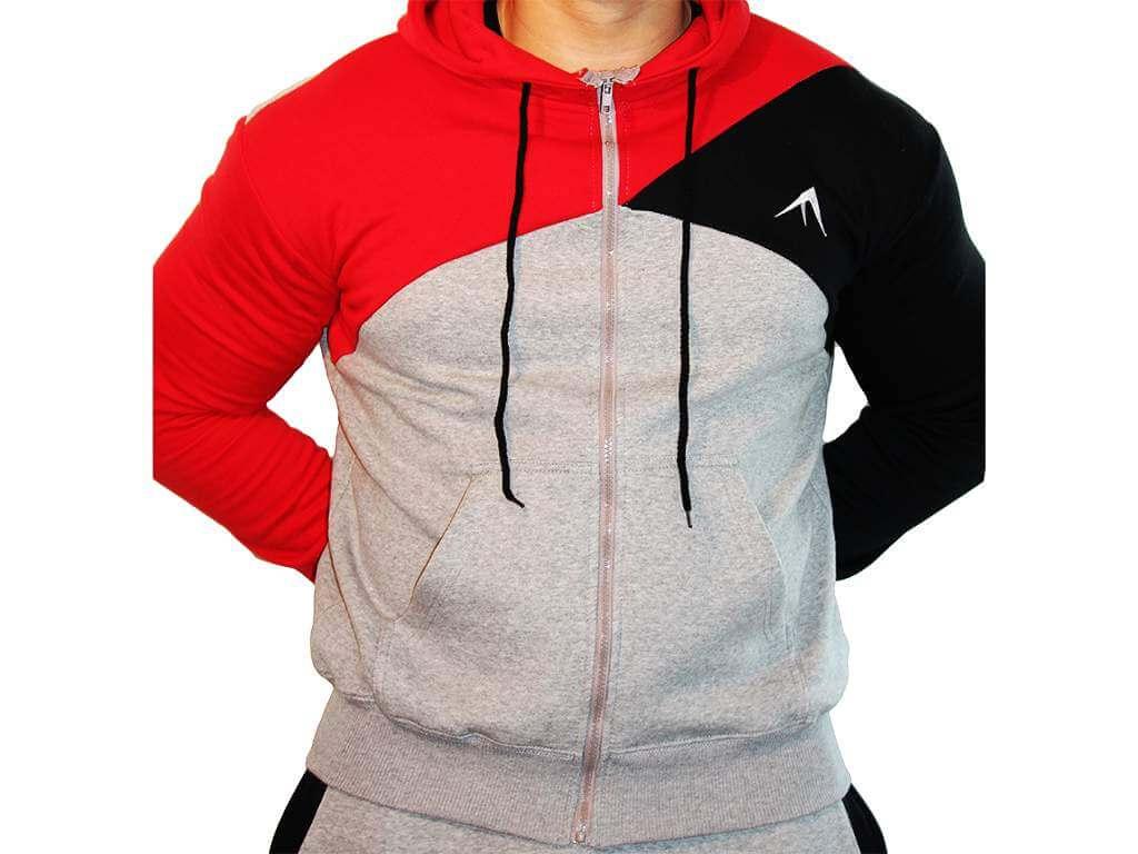 Focus Gymwear hoodie tri panel rood voorkant man