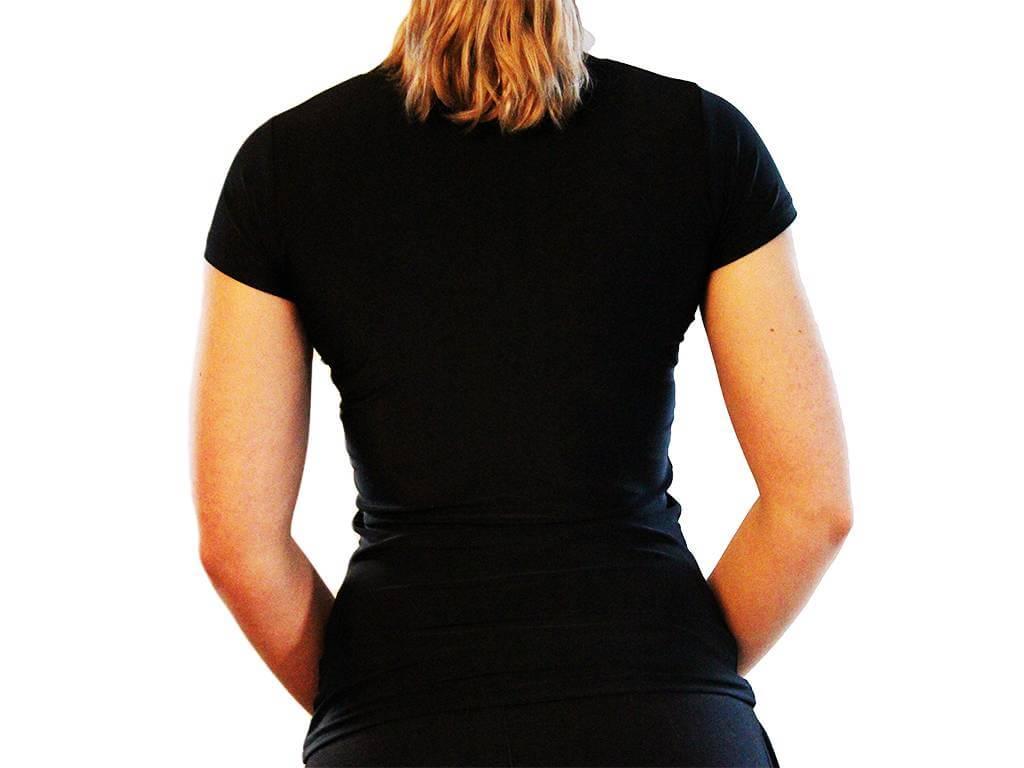 Focus Gymwear compressie shirt zwart achterkant vrouw